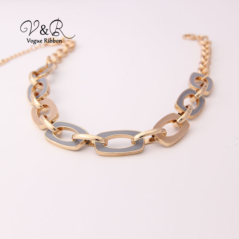 Two Tone Enamel  Penent Multiple Sized Link Chain N Necklace (6)