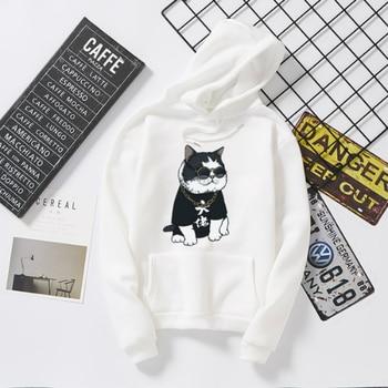 Gangster Cat Printed Cool Hoodies Pullover for Women White Black Casual Hoodies Woman Harajuku Sport Hoodies Sweatshirt Ladies black cat printed panties