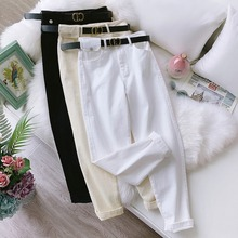 White Jeans Harem Pants for Women Casual Vintage Harem Women #8217 s Denim Pants High Waist Sashes Chic Cotton Pants Female Boyfriend cheap feelingstory Polyester spandex Ankle-Length Pants K-P-5628 Solid Flat REGULAR Ages 18-35 Years Old Pockets Broadcloth Zipper Fly