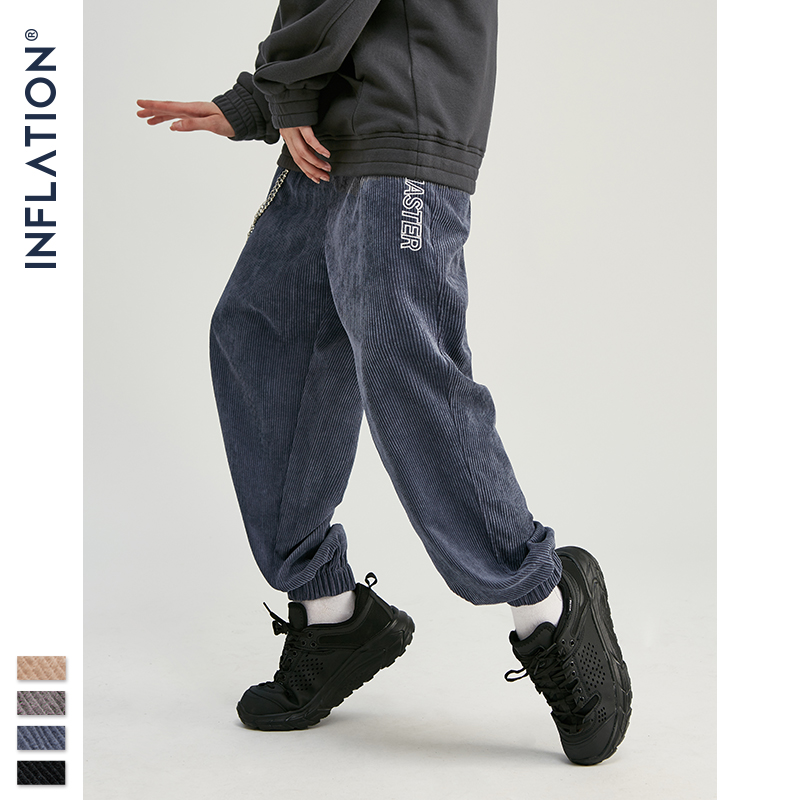 INFLATION 2020 Collection Men Casual Corduroy Jogger Pants Men Loose Fit Corduroy Overalls Casual Pants Solid Color 93305W