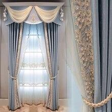 Estilo europeu cor sólida atmosfera de luxo azul sombra cortinas para sala estar quarto