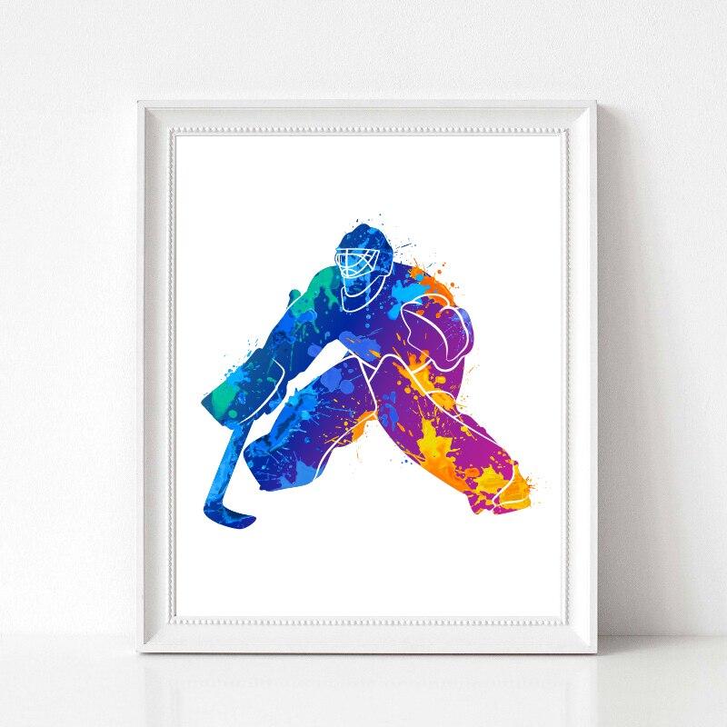 Abstract Hockey Player Prints Home Decor