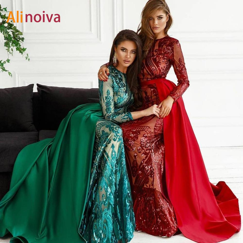 Alinovia Evening Dress 2020 Elegant Muslim Mermaid Long Sleeves With Detachable Train Sequin One Shoulder Prom Party Gowns