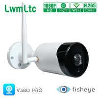 Cámara IP inalámbrica con WIFI panorámica 1080P HD V380 PRO, cámara de vigilancia de ojo de pez, CCTV, Audio bidireccional de seguridad, visión nocturna de 360 °