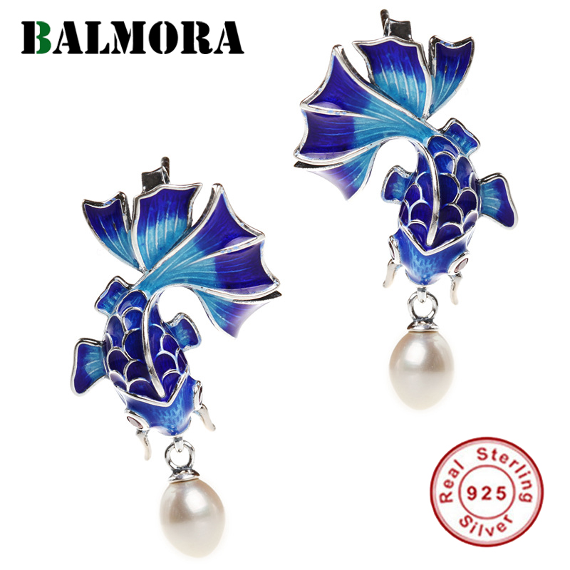 BALMORA 925 Sterling Silver Simulated-Pearl Goldfish Retro Stud Earrings For Women Enameling Ethnic Fashion Jewelry Brincos