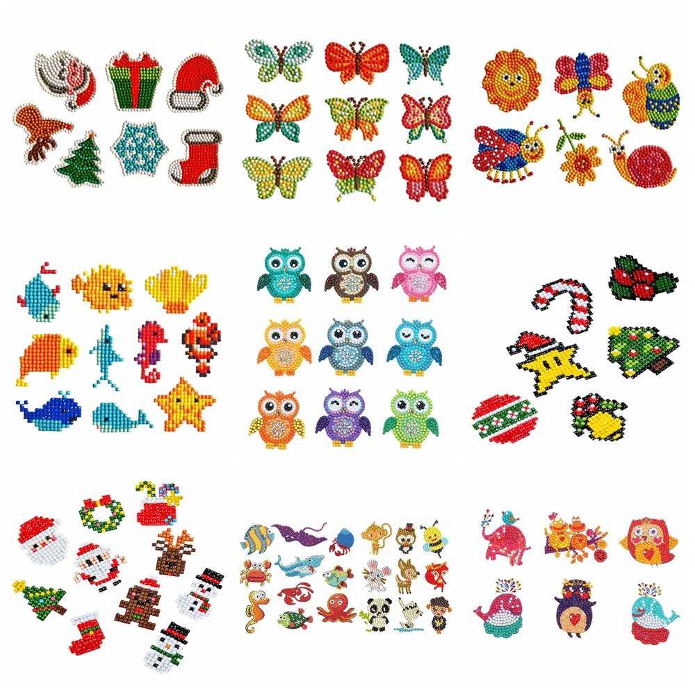 5D Diamond Painting Kits Stickers Xmas Gift For Kids DIY By Numbers Handmade