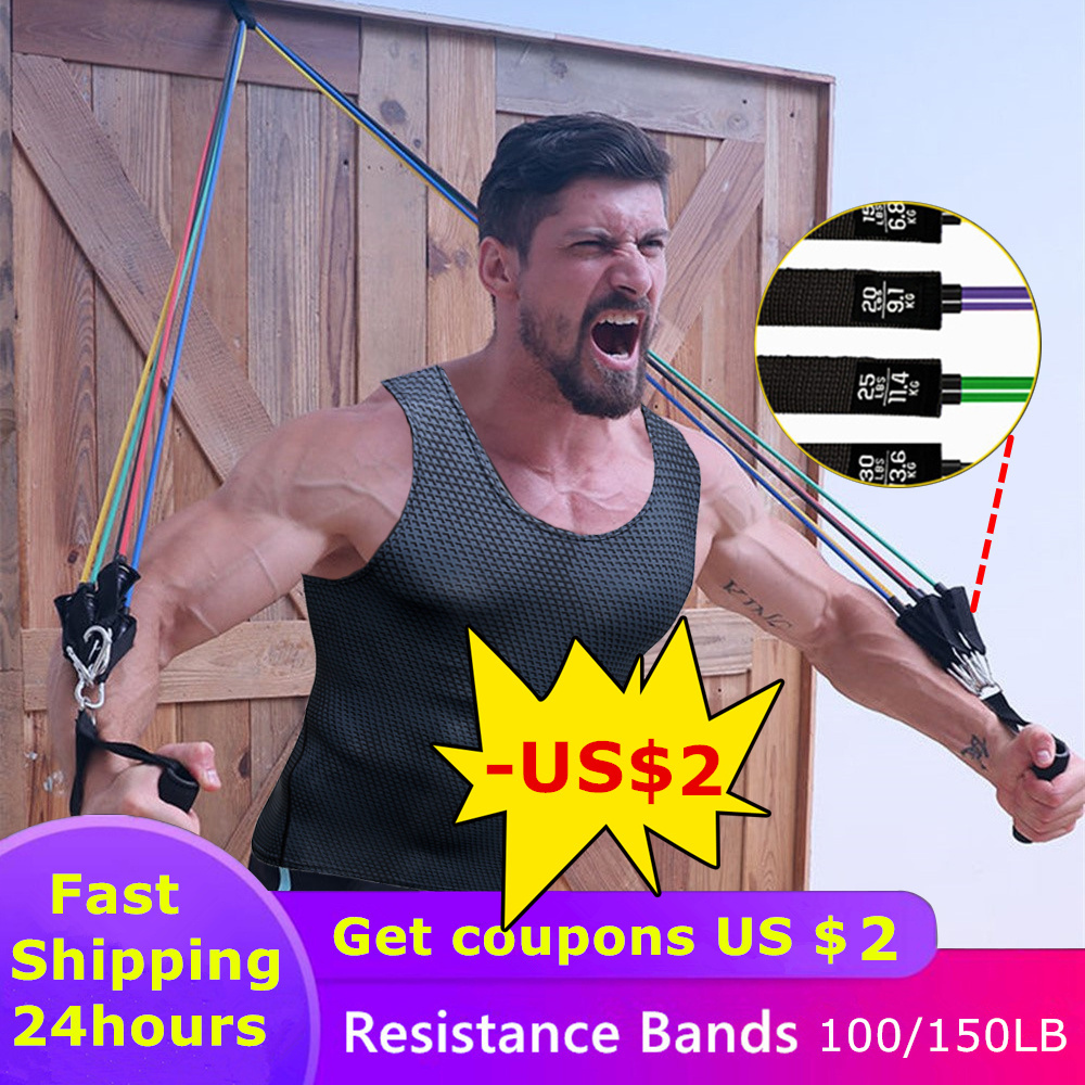 11pcs/set Pull Rope Fitness Exercises Resistance Bands Latex Tubes Pedal Excerciser Body Training Workout Yoga Rubber Loop Tube(China)