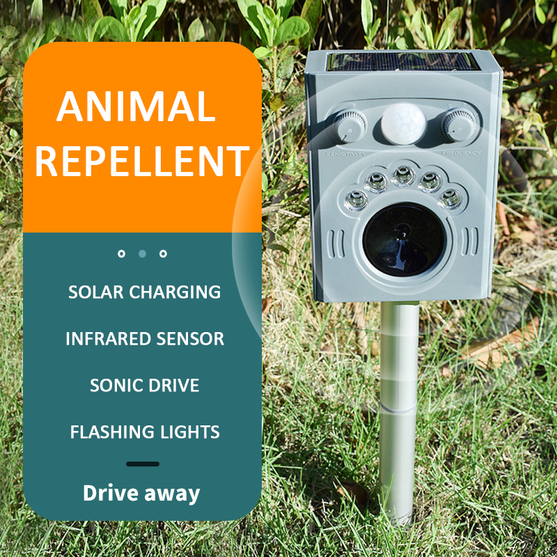Outdoor Solar Power Ultrasonic Pest Animal Repeller Garden Cat Dog Fox Animal Repellent Sensing distance Infrared 8-9 meters