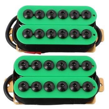 2Pcs Double Coil Electric Guitar Humbucker Pickup Bridge&Neck Ceramic Magnet Invader Style Punk Green tooyful alnico 5 humbucker pickup bridge neck set p90 for electric guitar accessory
