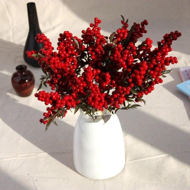 Flor Artificial con bayas rojas falsas, flor de Navidad, árbol de decoración de Año Nuevo, baya Artificial, decoración de Navidad para el hogar