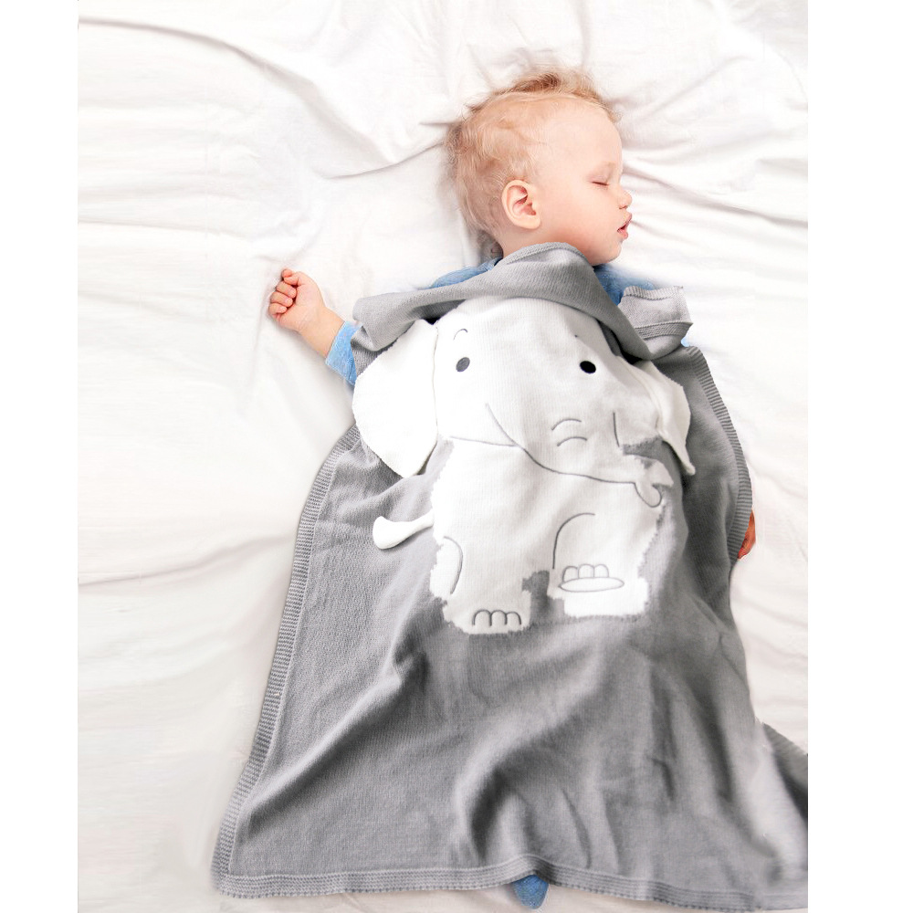 Elephant Newborn Baby Boy Blankets Knitted Stitch 3D Ear Blanket Children's Bedding Blanket Beach Mat Baby Bath Swaddle