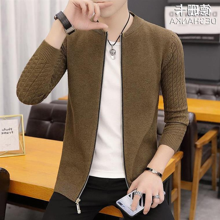 OLOEY 2018 New Zipper Men's Sweater Slim Fit Casual Cardigan Men Stand Collar Fashion Cardigan Masculino Solid  Pull Homme