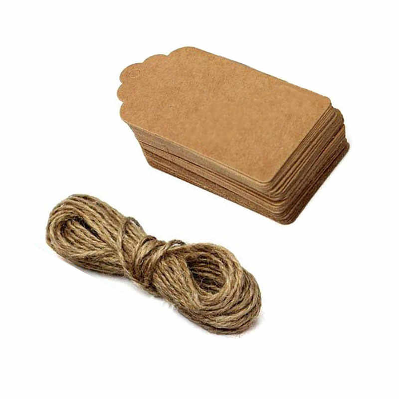 100Pcs טבעי חום קראפט נייר תגיות עם חוט יוטה עבור DIY מתנות מלאכות מחיר מטען תגי תגים שם תגיות צדפות תווית