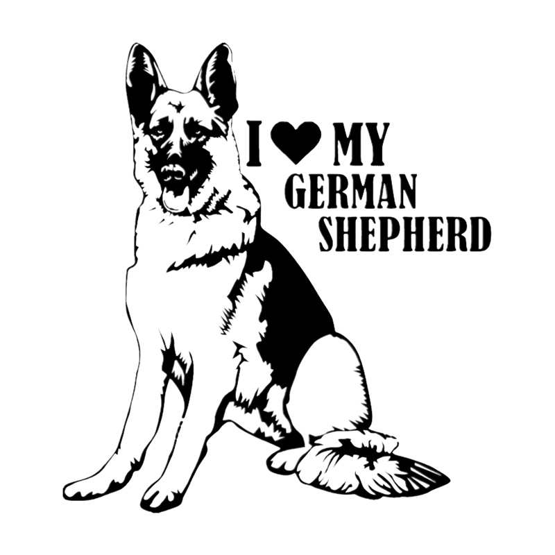 Hot Sell Personality I Love My German Shepherd Car Stickers Accessories Motorcycle Sunscreen Waterproof PVC 15cm *14cm