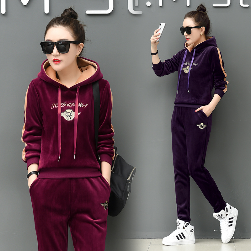 Gold Velvet WOMEN'S Suit Fashion 2018 New Style Brushed And Thick Autumn And Winter Double-sided Plush Sports Casual Velvet Two-