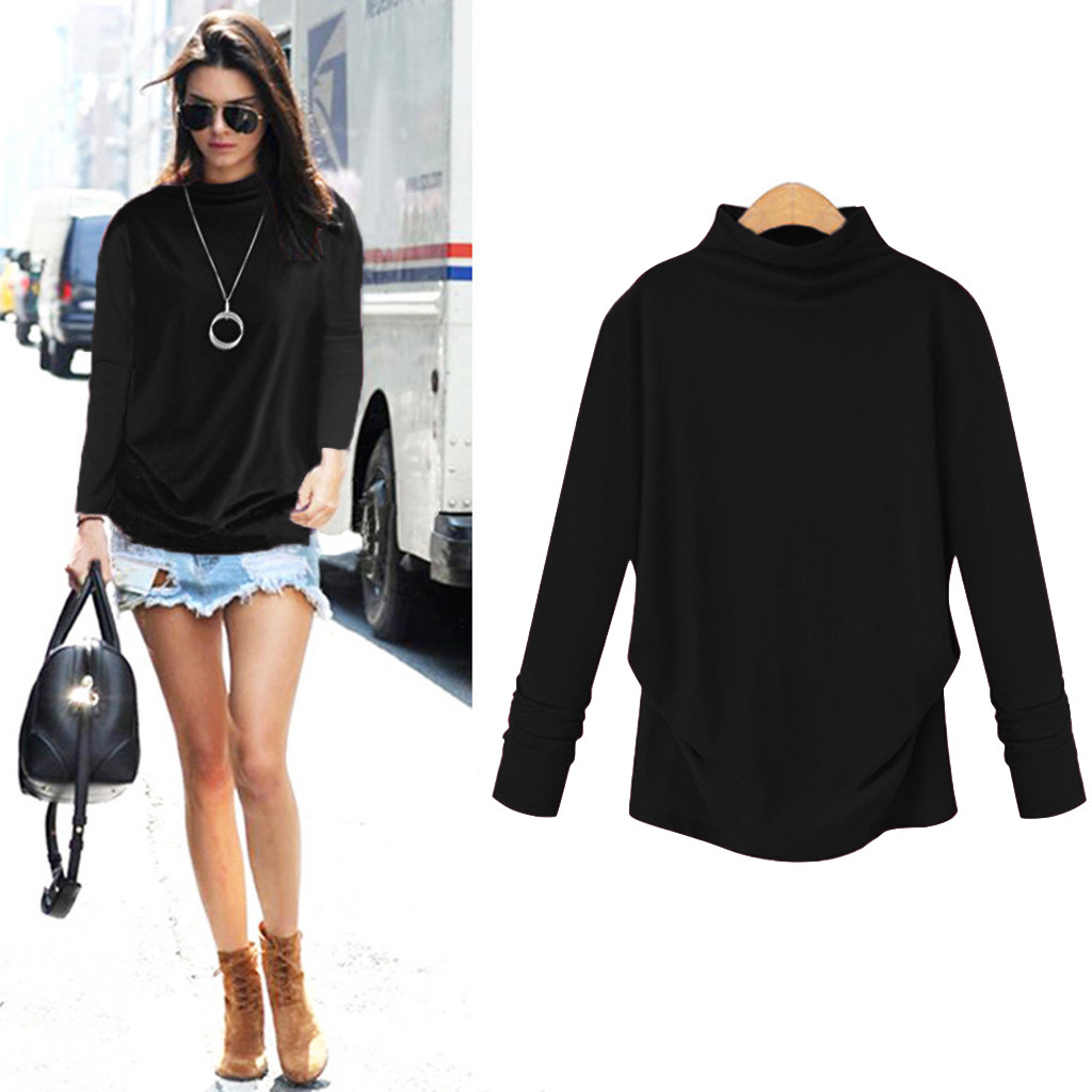 Solid Turtleneck Slim Fit Long Blouse Workwear Office Ladies Plain High Neck Long Sleeve Tee Women Autumn Minimalist Blouse S27