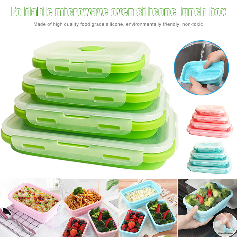 4pcs Collapsible Containers Silicone Food Storage Microwave Fridge Lunch Box VJ Drop Bottles Jars & Boxes     - title=