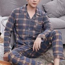 WENYUJH Men Pajama Casual Pajama Sets Breathable Air Cotton Plaid Print Pijama Embroidery Elastic Waist Male Pajamas Homewear