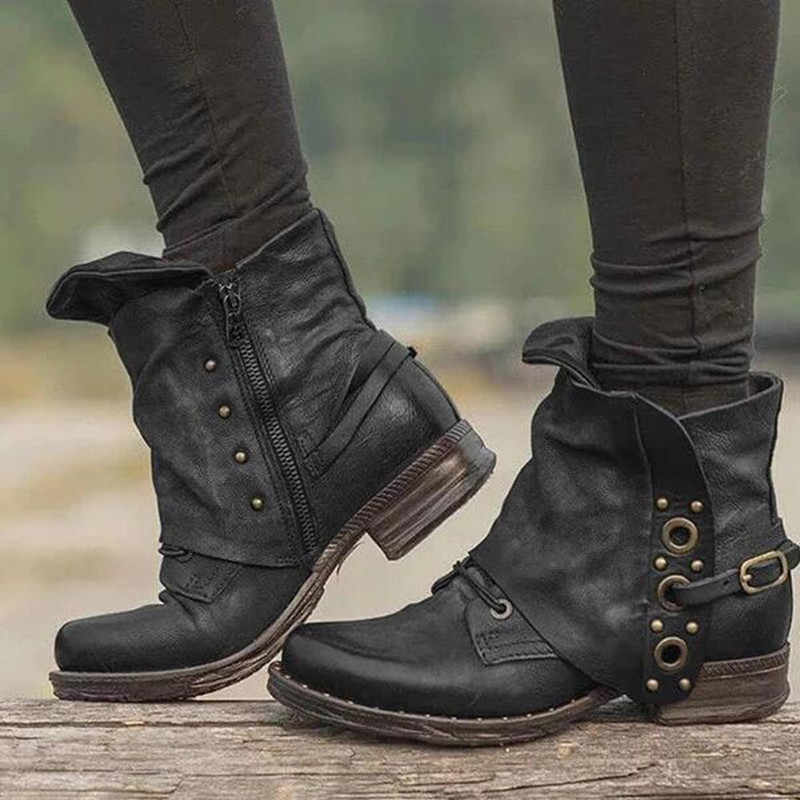 Kadın yarım çizmeler Perçin Toka Kilit Fermuar Düşük Topuk Çizme 2019 Sonbahar Retro PU deri ayakkabı Artı Boyutu 43 XWX7442