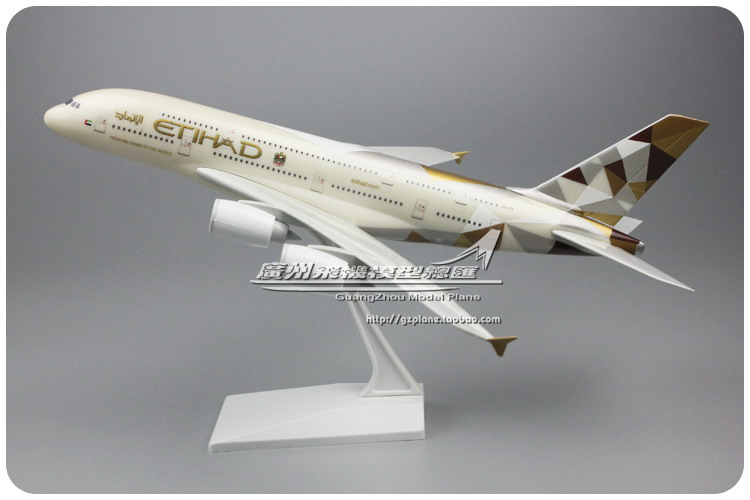 United Arab Emirates UAE Etihad Airways Airbus A380 Plastic Assembled Aircraft Model 1: 200 Plane Model For Xmas Birthday Gift