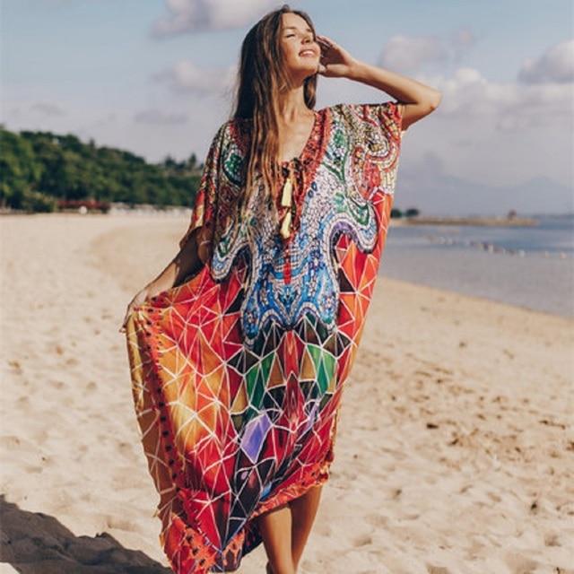 PlusขนาดBeach Maxi Dress Cover Upชุดว่ายน้ำSalida De Playa Kaftan Beachชุดว่ายน้ำCover Up Playeros