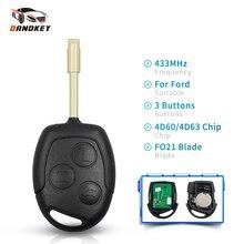 Dandkey Car 433Mhz Remote Key For Ford Fusion Focus 2 Fiesta Transit Mondeo Galaxy 4D60 4D63 40 80 Bits Chip Uncut FO21 Blade