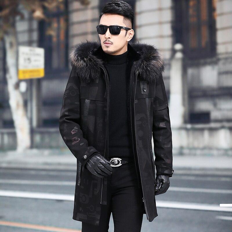 Real Fur Coat Men Warm Parka Natural Rabbit Fur Liner Raccoon Fur Collar Hooded Parka Plus Size Winter Coat 630 YY697