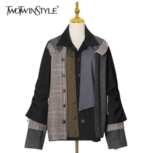 Casual Jacket Clothing TWOTWINSTYLE Women Patchwork Long-Sleeve Plaid Fashioin Color