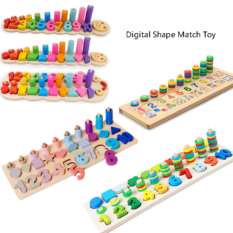 Montessori Materials Learn To Count Numbers Children Wooden Toys Matching Digital Shape Match Early Education Teaching Math Toys