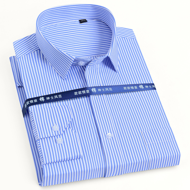 Basic-Dress Shirts Pocket Business Long-Sleeve Office Formal Men's Solid/striped Classic