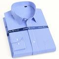 Мужская классическая рубашка в полоску, белая однотонная Базовая формальная деловая рубашка с длинными рукавами, одним накладным карманом,...