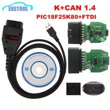 For VAG K+CAN Commander 1.4 Green PCB PIC18F25K80 FTDI FT232RQ Chip For AUDI/VW/Skoda/Seat For VAG K+CAN 1.4 K Line Commander