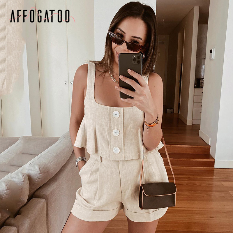 Affogatoo Casual Loose Two-piece Summer Playsuits Rompers Women Vintage Sleeveless Straps Female Cotton Jumpsuit Ladies Overalls