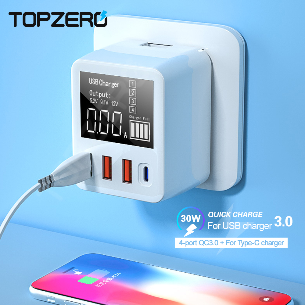 4 Ports <font><b>30W</b></font> <font><b>USB</b></font> <font><b>Charger</b></font> Type C <font><b>USB</b></font> Quick Charge 3.0 <font><b>Charger</b></font> Plug LED Digital Portable <font><b>USB</b></font> Charge Adapter For iPhone Android image
