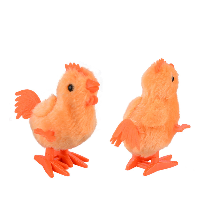 Children Cute Winding Jumping Cockerel Educational Wind-up Toy Plush Small Animal Model Cock