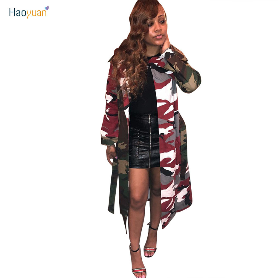 HAOYUAN Autumn Trench Coat For Women Sexy Overcoat Winter Casual Camouflage Womens Clothing Full Sleeve Cardigan Long Coat