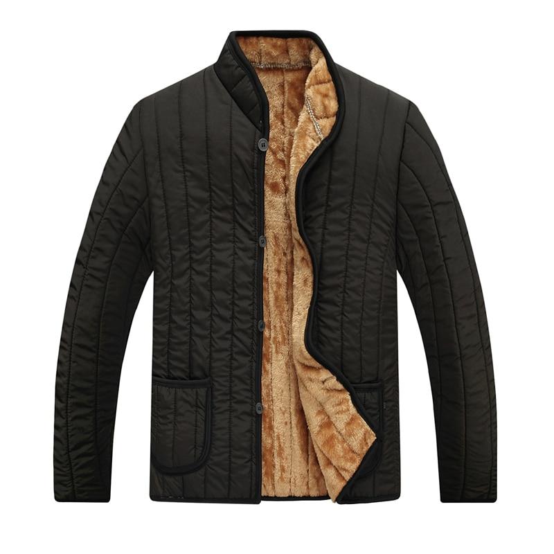 Зимняя мужская флисовая подкладка куртки черные пуховые теплые базовые пальто Мужская Повседневная стеганая верхняя одежда однобортные п...,