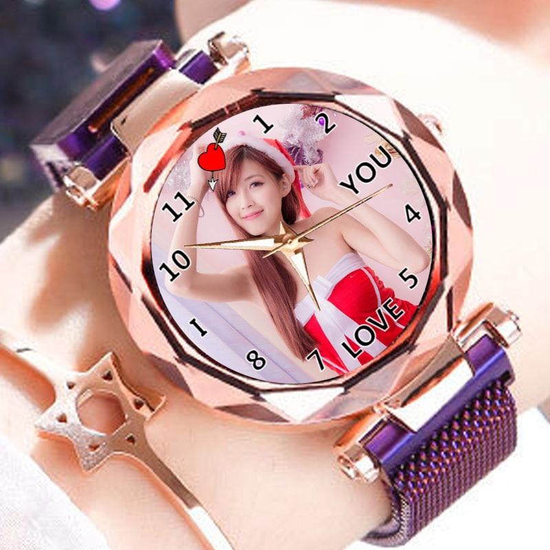 Creative Watch Custom Photo Women's Purple Golden Clock Print Logo Picture Personality Customized Wristwatch Gift For Girl