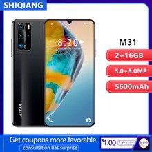Shiqiang m31 telefone móvel android inteligente desbloqueio face id 6.3 polegada 2gb ram 16gb rom 2 cartão sim smartphones 5600mah celular