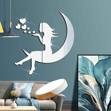 Meninas lua 3d espelho adesivos acrílico à prova dwaterproof água auto-adesivo papel de parede diy crianças sala de estar decoração para casa adesivos de parede
