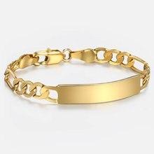 5mm 12/14/16cm dgbm100 id gravura pulseira para bebê criança ouro enchido figaro corrente suave pulseira ligação do bebê