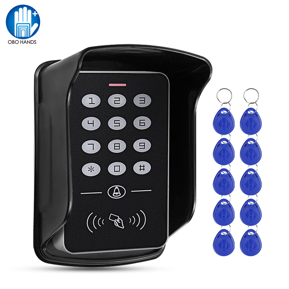 Standalone 125KHz RFID Keyboard Access Control Keypad Waterproof Cover Controller 10pcs Keyfobs For Door Access Control System