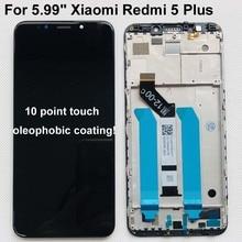 """のためのオリジナル新 5.99 """"xiaomi redmi 5 プラスlcdスクリーンディスプレイタッチデジタイザーフレームredmi 5 プラス液晶ディスプレイタッチスクリーン"""