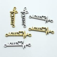 10 шт 12*34 мм Сердце Любовь соединитель diy ручной работы ожерелье