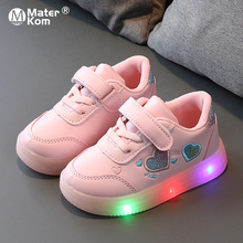 Size 21-30 Baby Led Shoes For Boys Girls Luminous Sneakers For Kids Children Shoes With LED Lights Non-slip Glowing Toddler Shoe cheap Mater Kom 13-24m 7-12y CN(Origin) Spring Autumn unisex Rubber COTTON Fits true to size take your normal size Hook Loop