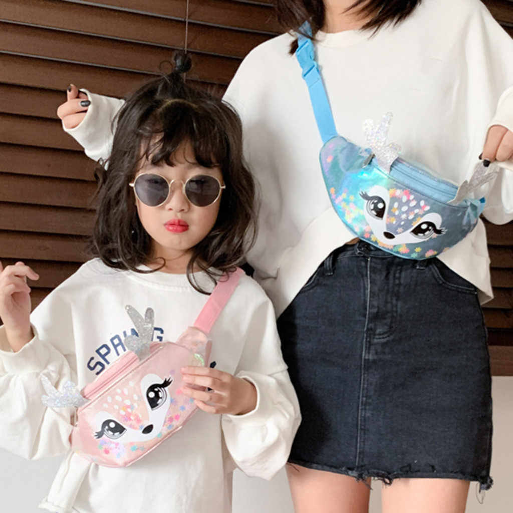 Enfants filles mode Sequin taille sac unique épaule poitrine sac Mobile porte-monnaie paillettes sac à bandoulière sac à main portefeuille