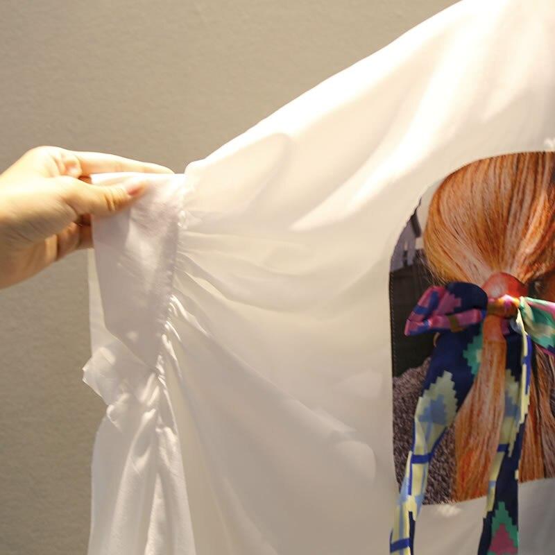 XITAO Irregular Pleated Black White Shirt Women Clothes 2019 Tide Print Button Blouse Top Summer Fashion New Match All ZLL4271 Women Women's Blouses Women's Clothings