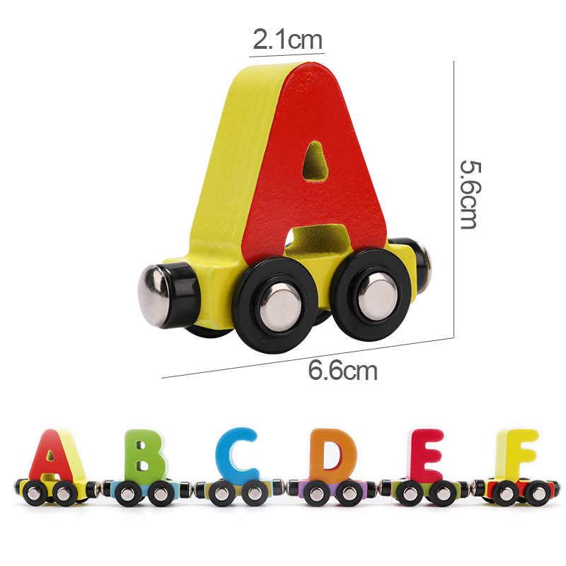 Mwz 26 Engels Letters Kleine Trein Houten Speelgoed Kinderen 1-3 Jaar Oude Puzzel Cognitieve Magnetische Letters Auto Vroeg onderwijs Speelgoed