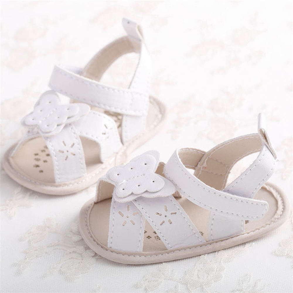 Baby Shoes Girl Sandals Soft Anti-Slip Sole Princess White Summer Crib Light Weight Butterfly Newborn Crib Sandals