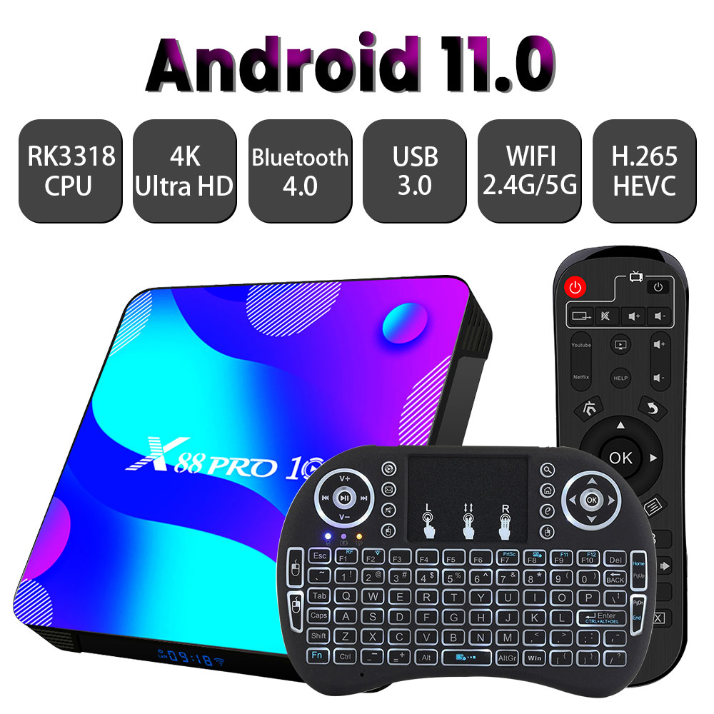 Android 11,0 ТВ коробка Transpeed X88 32G 64G 128G 2,4G и 5G RK3318 4K 3D Bluetooth ТВ приемник H.265 быстро Set Top TV BOX ТВ коробка
